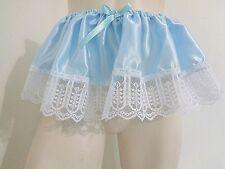 ADULT SISSY FRILLY BLUE SATIN TUTU DRESS UP FOR PANTIES MEN GIRL BABY CD