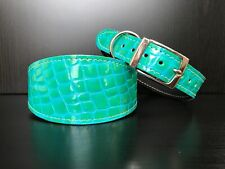 LARGE Leather Dog Collar LINED Greyhound Whippet Saluki GREEN/BLUE REPTILE