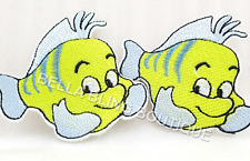 1 EMBROIDERED GIRLS FLOUNDER LITTLE MERMAID IRON ON SEW ON PATCH CLOTHES CRAFT