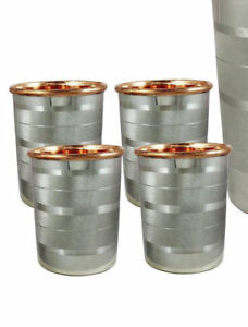Set-4 Handmade Copper Water cup Silver Polished Tumbler 300 Ml Ayurveda Health