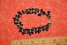 Really Nice Black Rose Glass Bead Bracelet 8""