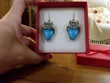 Brand new chunky antique silver look earrings with a large turquoise stones +box