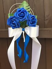 Pew Ends Bows Church Wedding Flowers Decorations Rose Royal Blue