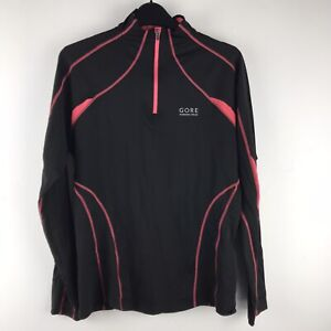 Gore Black and Pink Running Long Sleeve 1/4 Zip Top Ladies EU 38 UK 10