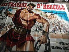 ANCIENNE IMPORTANTE AFFICHE ORIGINALE CINEMA PEPLUM LES TRAVAUX D'HERCULE
