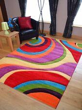 Modern Thick Dense Pile Bright Coloured Swirls Floor Mats Rugs Long Hall Runners