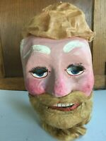 Antique Santa Claus Figure Papier Mache Mask Creepy Father Christmas  C.1900
