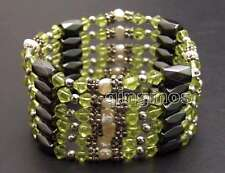 SALE 4-5mm White Natural Pearl and Green Crystal & Hematite 36'' Bracelet-bra364