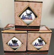 3 ct lot Negro Leagues Newark Eagles Porcelain Baseball Ornaments NEW NIB
