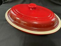 "Le Creuset Cherry Red Stoneware Large Covered Casserole Dutch Oven 17 1/4"" *263"