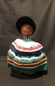 "Vintage Native American Florida Seminole Indian Palmetto Fiber Doll- 7"""