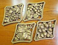 4 VINTAGE UNIVERSAL STATUARY 1958 - CHALK WARE FRUIT SET WALL PLAQUES HOME DECOR