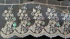 1yard off  white tulle embroidered beaded sequins trim 3""