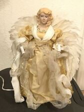 Angel Christmas Tree Topper Illuminated EUC Feathered Wings 12x6 Light Up Gold