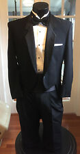 MENS VINTAGE BLACK TAIL TUXEDO SNAP HIGH COLLAR PIERRE CARDIN 40R 4 PCS
