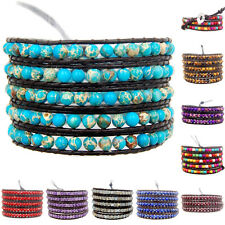 Hot Colorful Hand Made Mixed Crystal and Gemstones Beads Wrap Leather Bracelet