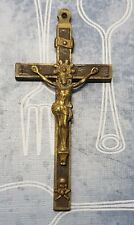 Antique Bronze Large French Skull and Bones Crucifix - Pendant