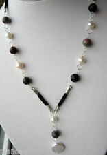 White Pearl & Tourmaline Leather 925 Silver Necklace