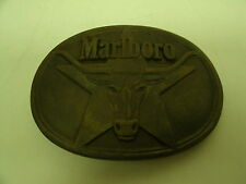 "1987 Philip Morris Solid Brass Marboro Belt Buckle 3 1/4"" X 2 1/2"""