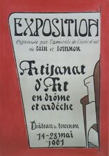 """""""EXPO ARTISANAT d'ART TOURNON 1961""""Maquette gouache sur papier originale 40x60cm"""
