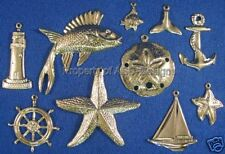100pc Gold Plated Nautical Ocean Sea Lot Charms 4672