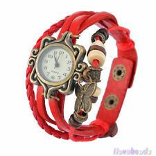 Retro Ladies Braided Leather Strap Beads Butterfly Bracelet Quartz Wrist Watch