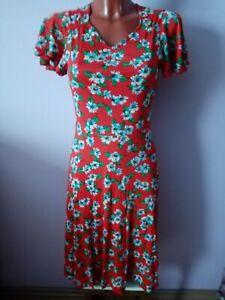 True Vintage Kleid  50er 60er jahre original gr.38 rot mit Blumen Muster