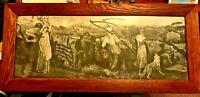 RARE 16TH/17th Century PENCIL DRAWING FRENCH PEASANT FARM LABORERS-VTG FRAMED
