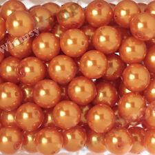 20mm - 12pcs Orange Pearl Beads Chunky Bubble Gum Acrylic Gumball Round Shiny