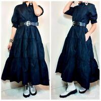 ZARA NEW BLACK TAFFETA LONG SHIRT DRESS SIZE XS