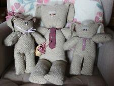 "3 Vintage 1984 Wool Bunnies By Sandra L. Schepper ""Particular People"" Easter"