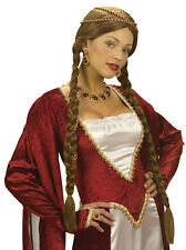 Mittelalter Renaissance Perücke braun für Damen NEU - Karneval Fasching Perücke