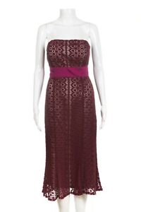 TRACY REESE Dress 2 Red Midi Crochet Strapless Pink Waist Tie Bow Cocktail XS S
