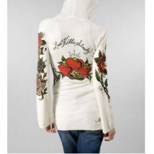 Ed Hardy tattoo print hooded sweater size Small