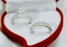 2 Pieces Princess Cut  Diamond  Engagement Ring