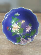 """New listing Vintage Chinese Jingfa Blue With Florals 9"""" Scalloped Edge Cloisonne Bowl"""