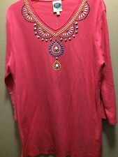nwt..DG2 DIANE GILMAN..T SHIRT..L..PINK WITH BLING..COTTON SHIRT..3/4 SLEEVES