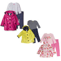 Little Me 3 Piece Set for Girls - Hooded Raincoat, Long Sleeve Shirt, Legging