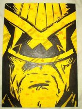 Paper Painting Judge Dredd Helmet Yellow Speckled Art 16x12 inch Acrylic