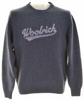 WOOLRICH Mens Crew Neck Jumper Sweater Small Navy Blue Wool  JW21