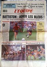 L'Equipe Journal 6/10/1987; Coupe Davis/ Battiston/ Anquetil/ Montchanin