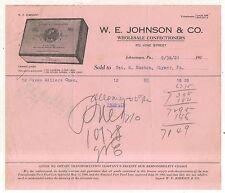 WE Johnson Wholesale Confectioners, JOHNSTOWN PA Antique Pennsylvania Billhead
