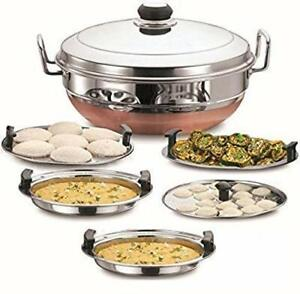 Multi Kadhai Stainless Steel Dhokla Steamer with Copper Bottom with 5 Plates