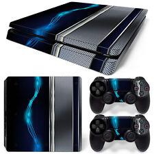 Ps4 Slim Playstation 4 Console Skin Decal Sticker Blue Silver Metal Custom Set