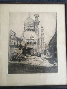 Mosque by James B. Luft 1920's Vintage Etching Black & White Art Drawing