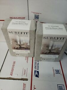 SET OF 2 SUREFIT DINING ROOM CHAIR RELAXED FIT SHORT SLIPCOVERS OATMEAL NEW