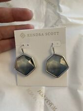 NWT Kendra Scott Vanessa Drop Earrings in Charcoal Gray Ombre and Rhodium