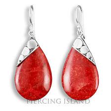 Edle Ohrringe Hänger Tropfen Silber Schmuck Rote Koralle SER217