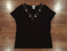 Woman's Brown Kate Hill Shirt Beads 95% Cotton 5% Spandex Excellent Condition XL