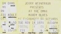 THE MOODY BLUES 1978 OCTAVE TOUR THE OMNI / ATLANTA, GA. CONCERT TICKET STUB